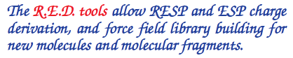 The R.E.D. tools allow RESP and ESP charge derivation, and force field library building for new molecules and molecular fragments.